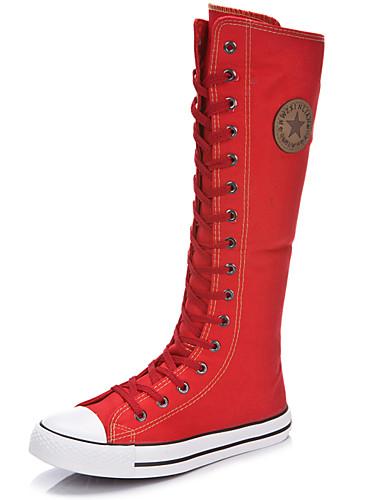 povoljno Ženske čizme-Žene Čizme Ravna potpetica Okrugli Toe / Zatvorena Toe Patent-zatvarač / Vezanje Platno Čizme do koljena Modne čizme Proljeće / Ljeto Crn / Obala / Crvena