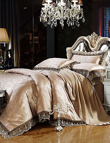 billige Rom-luksus dyne deksel sett silke bomull blanding jacquard 4 stk sengetøy sett