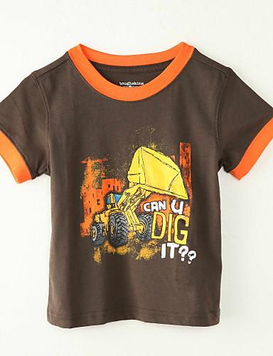 Jungen T-Shirt Ausgehen Druck Polyester Sommer Kurze Ärmel Braun