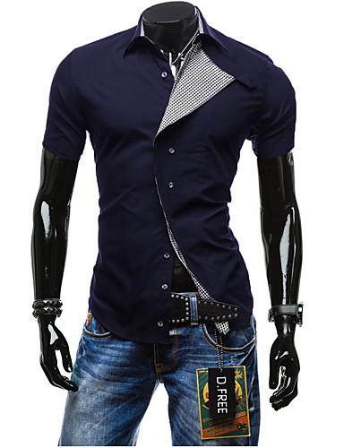 Masculino Camiseta Esportes Formal Casual TrabalhoSólido Algodão Manga Curta
