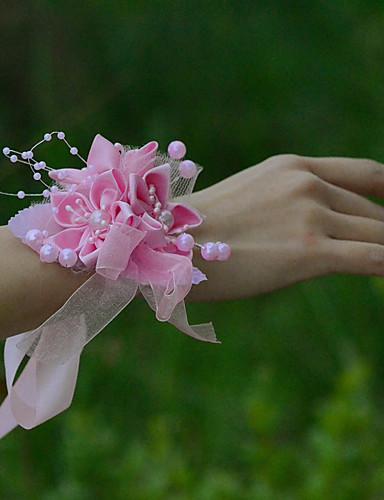 billige Blomsterpike-Bryllupsblomster Håndledscorsage Bryllup Fest / aften Tyll Satin 1.18 tommer (ca. 3 cm)