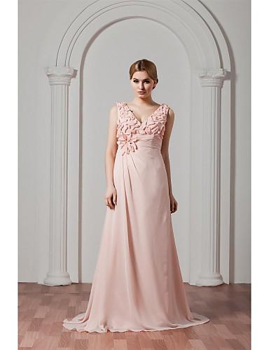 Evento Formal Vestido - Floral Linha A Decote V Cauda Escova Chiffon com Flor(es) Pregas