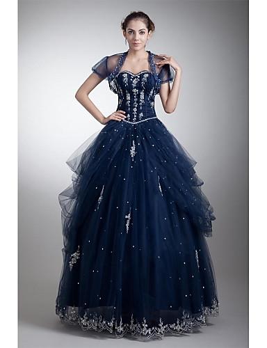 De Baile Decote Princesa Longo Tule Evento Formal Vestido com Miçangas Apliques Drapeado Lateral de TS Couture®