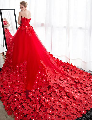 Ballkleid Trägerlos Kathedralen Schleppe Satin Tüll Benutzerdefinierte Brautkleider mit Kristall Verzierung Blume durch LAN TING Express