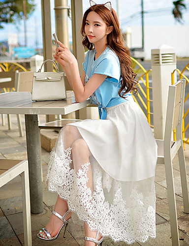 Damen Röcke Maxi Baumwolle / Polyester / Nylon Mikro-elastisch