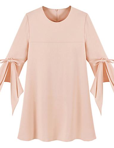 מעל הברך פפיון, אחיד - שמלה צינור שיפון מידות גדולות סגנון רחוב בגדי ריקוד נשים