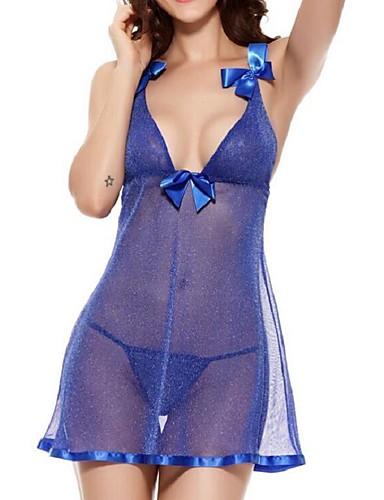 Damen Roben Nachtwäsche Patchwork - Baumwollmischung Mittel Blau