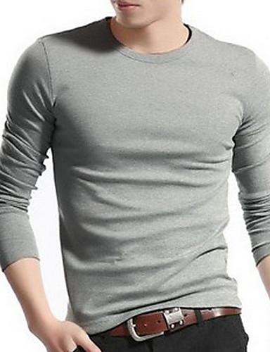 Herren T-shirt-Einfarbig Freizeit / Büro / Formal Baumwolle Lang-Schwarz / Blau / Grün / Weiß / Grau