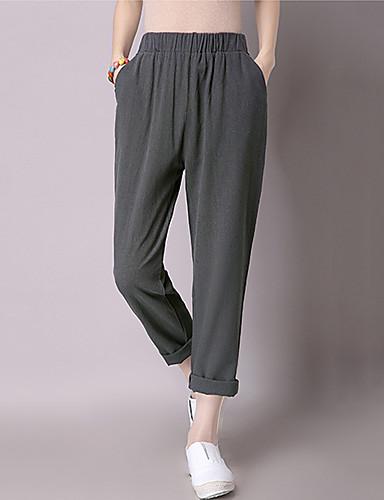 Femme Ample Sarouel Jeans Pantalon Décontracté / Quotidien Couleur Pleine Taille Normale Elasticité Coton lin non élastique Eté