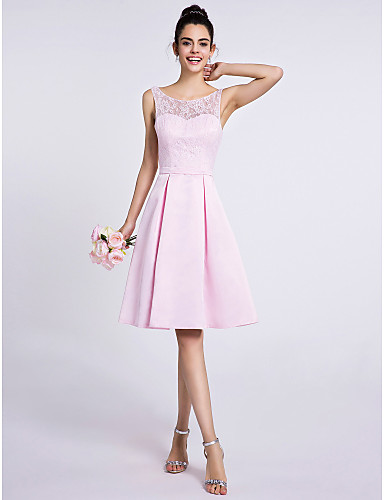 A-Line Scoop Neck Knee Length Lace Satin Bridesmaid Dress with Lace by LAN TING BRIDE®