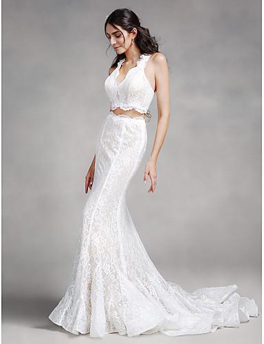 Trompet / Deniz Kızı V Yaka Uzun Kuyruk Dantelalar Dantel ile Düğün elbisesi tarafından LAN TING BRIDE®
