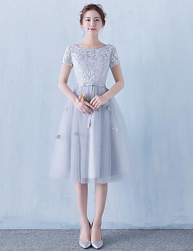 A-Linie U-Ausschnitt Tee-Länge Tüll Cocktailparty Kleid mit Blume durch