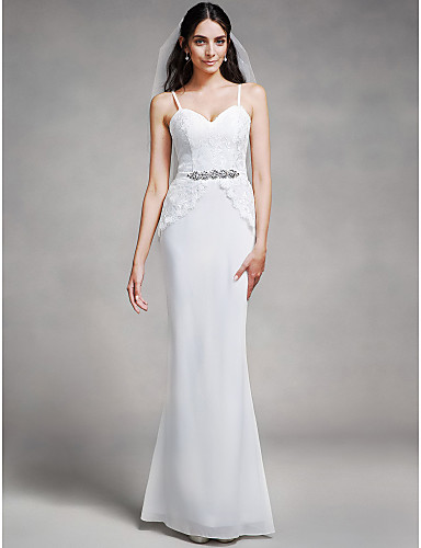 Mermaid / Trumpet Spaghetti Straps Floor Length Chiffon Lace Bridesmaid Dress with Crystal Detailing Lace by LAN TING BRIDE®
