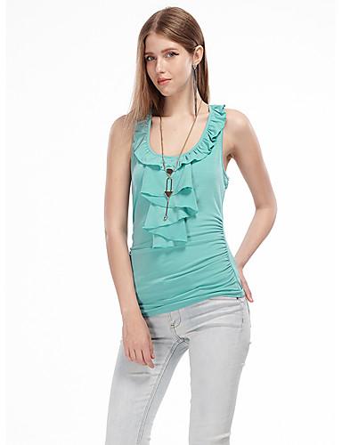 Damen Solide Einfach Ausgehen Bluse,U-Ausschnitt Sommer Ärmellos Polyester Elasthan Dünn