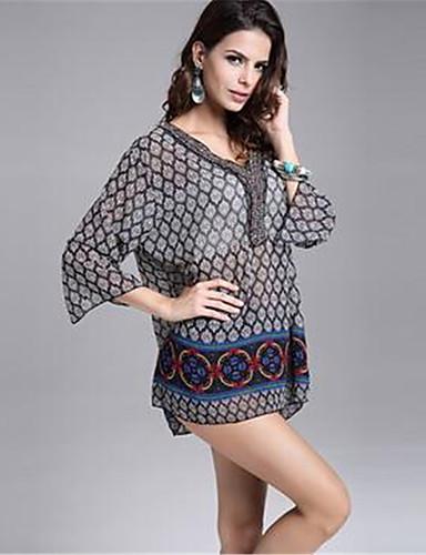 En couleur Femme Col en V Manche Longues Genou Robes-45232527320