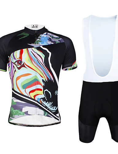 cheap Cycling Clothing-ILPALADINO Men's Short Sleeve Cycling Jersey with Bib Shorts - Black Zebra Bike Bib Shorts Jersey Clothing Suit Breathable 3D Pad Quick Dry Ultraviolet Resistant Reflective Strips Sports Lycra Zebra