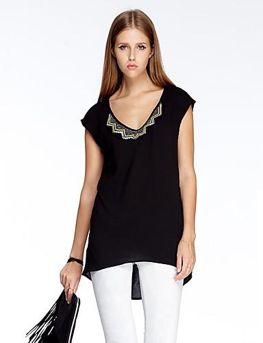Solide Einfach Ausgehen T-shirt,V-Ausschnitt Sommer Kurzarm Polyester Dünn