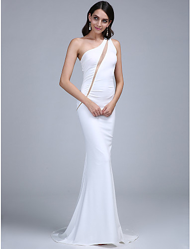 Mermaid / Trumpet One Shoulder Sweep / Brush Train Jersey Formal Evening Dress with Pleats by TS Couture®