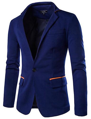 Blazer Hommes,Couleur Pleine Décontracté / Quotidien Printemps Automne Manches Longues Revers Cranté Bleu Noir Gris Coton Acrylique