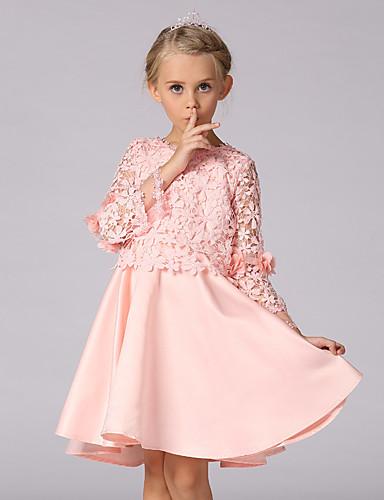 Mädchen Kleid Ausgehen Solide Frühling Sommer Langarm Rosa