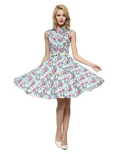 Mulheres Swing Vestido Vintage Floral Colarinho de Camisa Altura dos Joelhos Sem Manga Azul / Vermelho / Branco / Preto AlgodãoTodas as