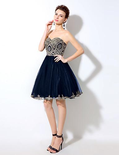 2017 cocktail robe d'une ligne-aimée court mini-tulle / de cristal détaillant