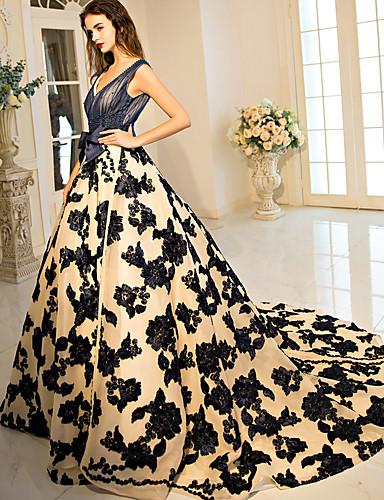 De Baile Princesa Decote V Cauda Corte Cetim Elástico Renda sobre Tule Evento Formal Vestido com Miçangas Laço(s) Flor de LAN TING Express