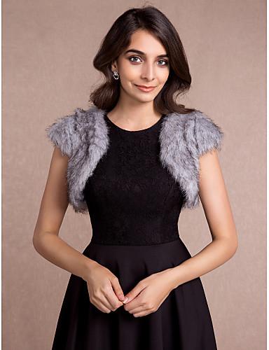 ราคาถูก ผ้าคลุมสำหรับชุดแต่งงาน-เสื้อไม่มีแขน ขนสัตว์เทียม งานแต่งงาน / Party / Evening / ที่มา Women's Wrap กับ Wave-like เสื้อกั๊ก