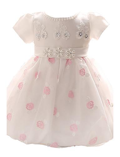 bébé Robe Fille de Soirée Fleur Polyester Toutes les Saisons Manches courtes Habillement Noeud Rose Bleu clair