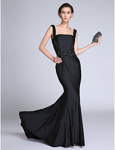 Mermaid / Trumpet Straps Sweep / Brush Train Jersey Formal Evening Dress with Beading by TS Couture®
