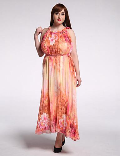 søte kurven kvinners strand / plus size boho swing kjole, skriver rund hals maxi ermeløs gul bomull sommer
