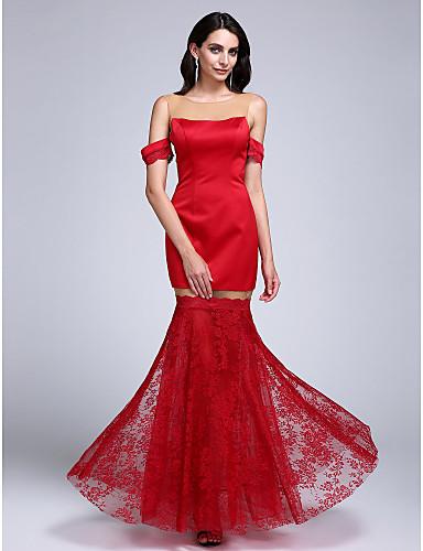 Sirena kroj Ovalni izrez Do poda Čipka Saten Formalna večer Haljina s Čipka po TS Couture®