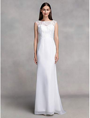 Sereia / trompetista barco comprimento chiffon vestido de noiva com renda por lan ting bride®