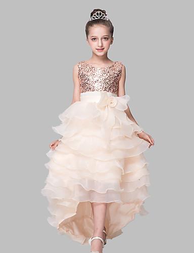 שמלת כדור אסיאתית פרח ילדה שמלה - סאטן אורגנזה ארוז ללא שרוולים תכשיט צוואר עם סרוגה על ידי מקסים