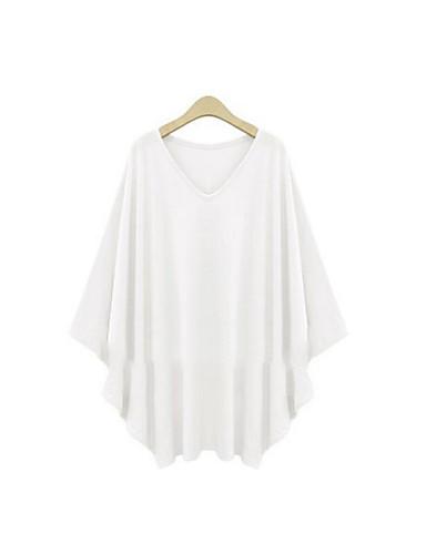 Damen Solide Einfach Lässig/Alltäglich Übergröße T-shirt,V-Ausschnitt Sommer ¾-Arm Polyester Mittel