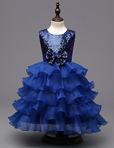שמלה פוליאסטר קיץ ללא שרוולים סוף שבוע ליציאה אחיד הילדה של סגול אדום כחול
