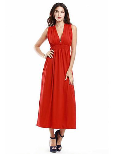 Mulheres Tamanhos Grandes Sofisticado balanço Vestido - Pregueado, Sólido Decote em V Profundo Cintura Alta Longo