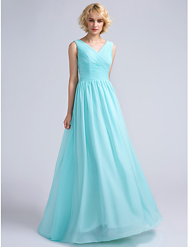 A-Line V-neck Floor Length Chiffon Bridesmaid Dress with Criss Cross by LAN TING BRIDE®