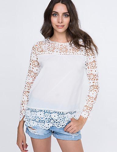 Damen Solide Sexy Retro Street Schick Festtage Lässig/Alltäglich Klub T-shirt,Rundhalsausschnitt Alle Saisons LangarmBaumwolle Polyester