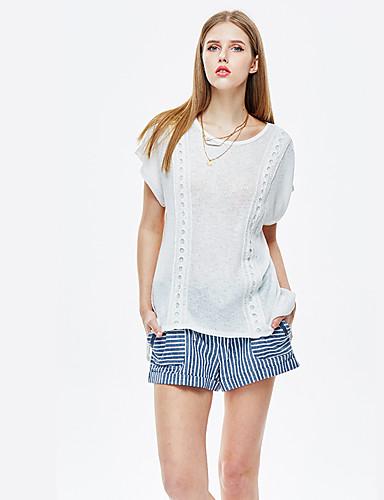 Mulheres Camiseta Casual Simples Verão,Sólido Branco Poliéster / Elastano Decote Redondo Manga Curta Fina