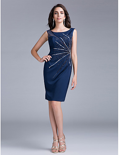 Mermaid / Trumpet Scoop Neck Knee Length Chiffon Cocktail Party Dress with Sequin by TS Couture®
