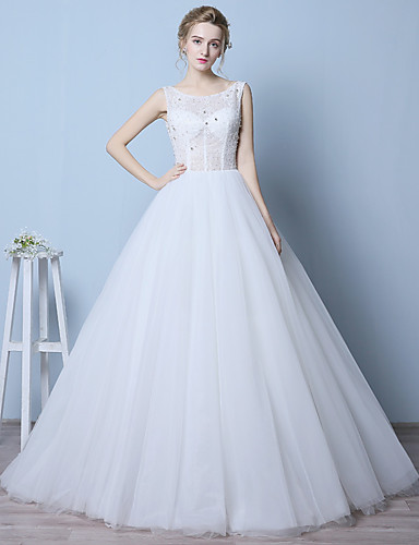 Linha A Vestido de Noiva Cauda Corte Decote em U Organza com Miçanga / Cristais