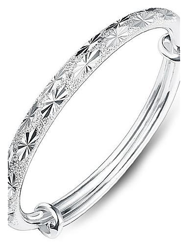 abordables Bracelet Argent Sterling-Bracelet Jonc Femme Argent sterling Cœur Amour dames Mode Tous les jours fantaisie Bracelet Bijoux Argent pour
