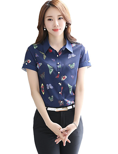 Damen Tierfell-Druck Übergröße Arbeit Hemd,Hemdkragen Sommer Kurzarm Blau Polyester Dünn