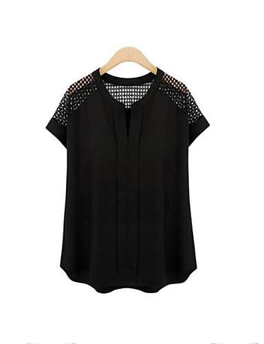 אחיד צווארון V מידות גדולות יום יומי\קז'ואל חולצה נשים,קיץ שרוולים קצרים לבן / שחור בינוני (מדיום) פוליאסטר