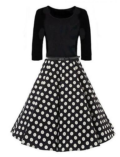 Mulheres Para Noite Vintage Moda de Rua Bainha balanço Vestido - Pregueado, Poá Acima do Joelho