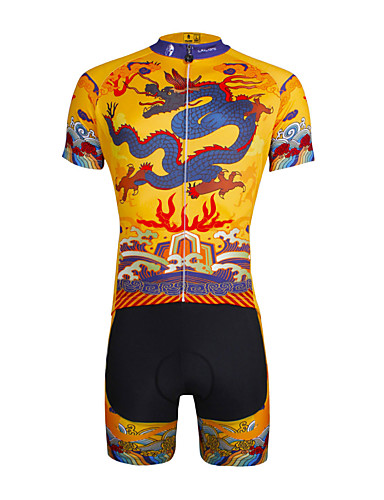 cheap Cycling Clothing-ILPALADINO Men's Short Sleeve Cycling Jersey with Shorts - Yellow Bike Shorts Jersey Clothing Suit Breathable 3D Pad Quick Dry Ultraviolet Resistant Reflective Strips Sports Lycra Dragon Mountain