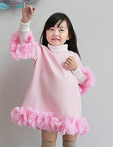 Mädchen Kleid-Lässig/Alltäglich einfarbig Baumwolle Winter / Frühling / Herbst Rosa