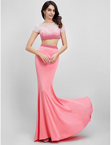 Mermaid / Trumpet Bateau Neck Sweep / Brush Train Jersey Prom Formal Evening Dress with Beading by TS Couture®