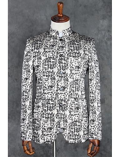 Grau Muster Schlanke Passform Polyester Anzug - Mandarinkragen Einreiher - Mehr Knöpfe